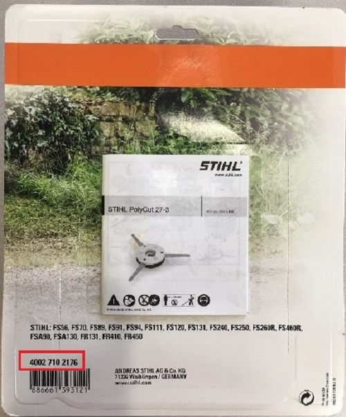 Location of material number on back of STIHL PolyCut package