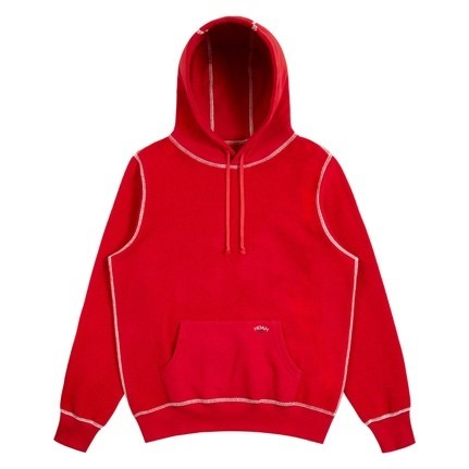 Reverse Fleece Hoodie Sweatshirt in Bright Red