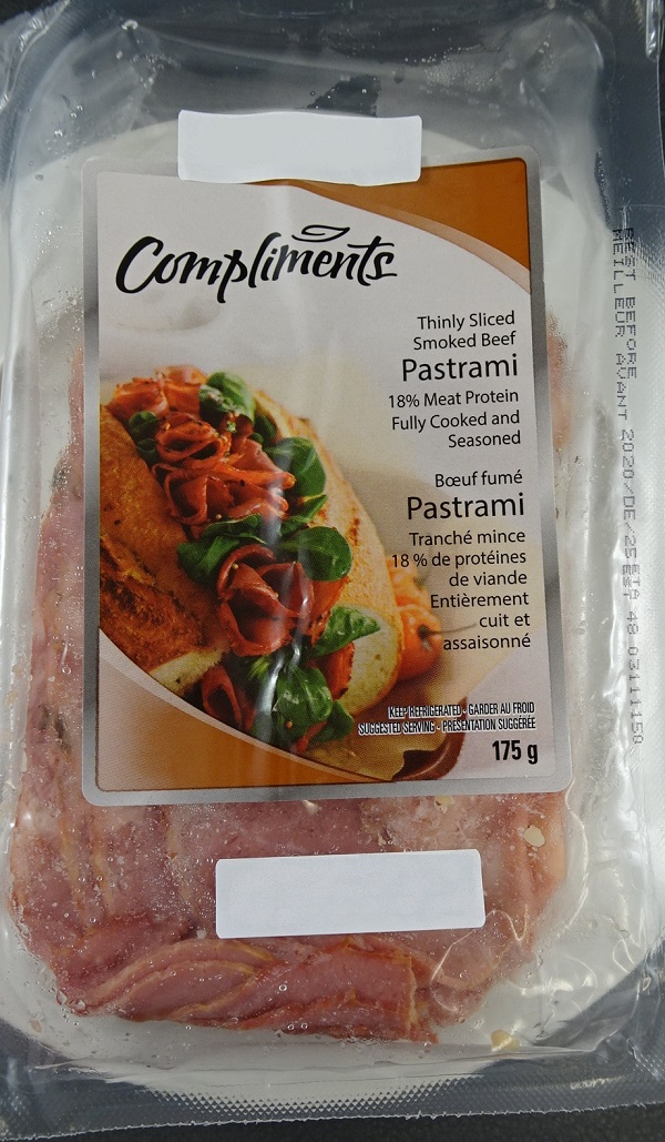 Compliments– Thinly Sliced Smoked Beef Pastrami– 175 grams (front)